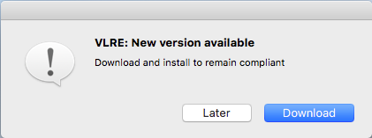 message notifying you that a new version of VLRE is available