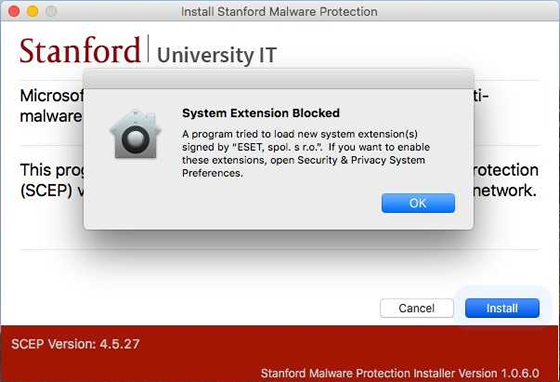 System Extension Blocked message
