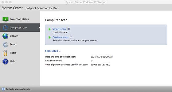 SCEP computer scan options