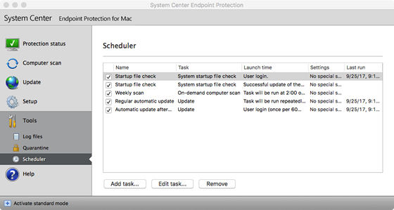 SCEP scan scheduler