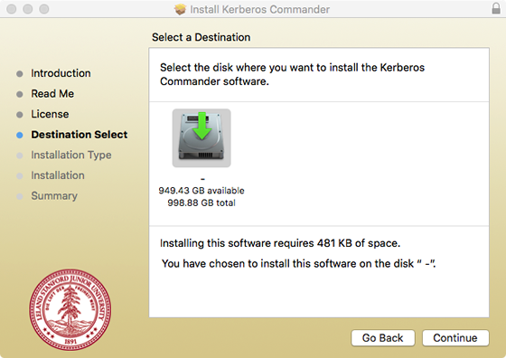 select drive where you want to install Kerberos Commander