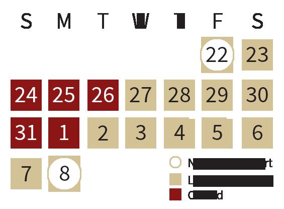 University IT Support Calendar
