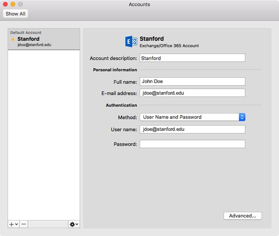 Outlook Accounts window