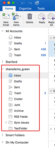 shared mailbox in Outlook navigation pane.