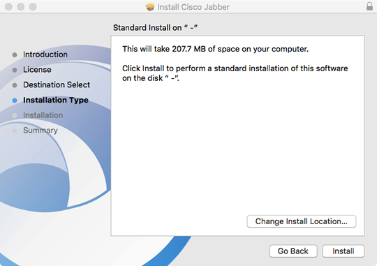 select the standard installation type