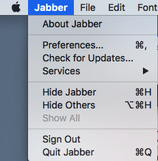 use the Jabber menu to sign out