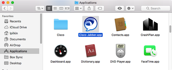 launch Jabber from your Applications folder