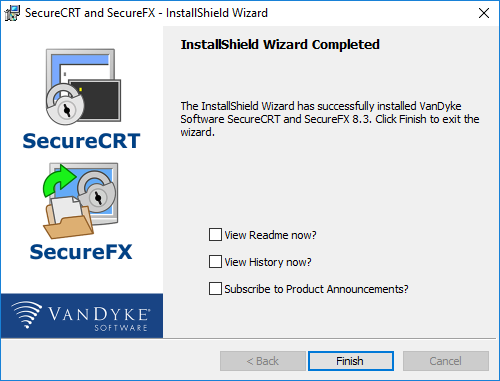 click Finish to exit the installer wizard