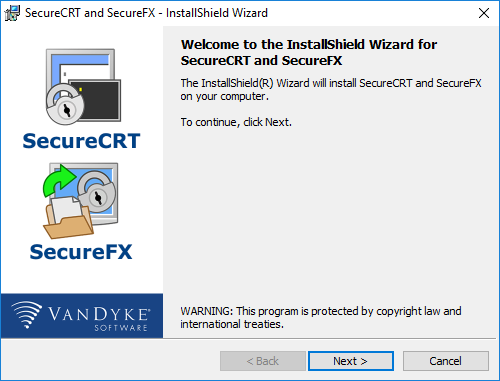 wlecome to the SecureCRT and SecureFX installer wizard