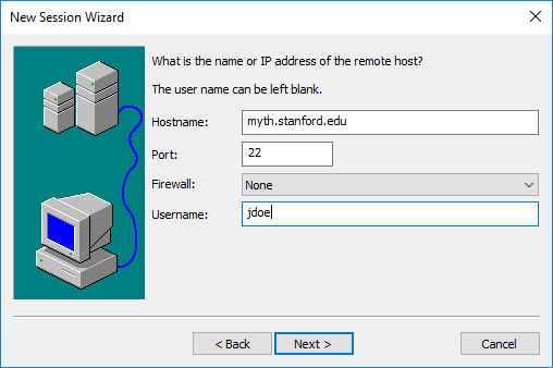 enter the name or IP address of the remote host