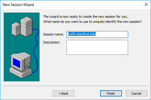 enter a name to identify the new session