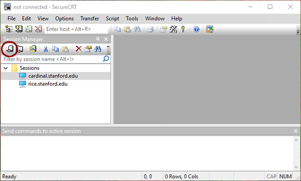 SecureCRT session manager window