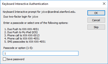 choose an option to use for two-step authentication