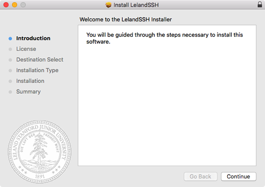welcome to the LelandSSH installer window