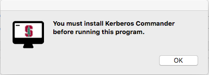 message saying you need to install Kerberos Commander