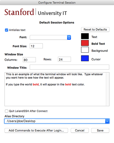 default session options window