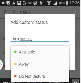 enter a custom status and choose a color to associate it with