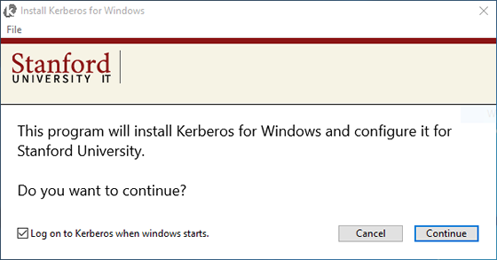click Continue to start the installation process