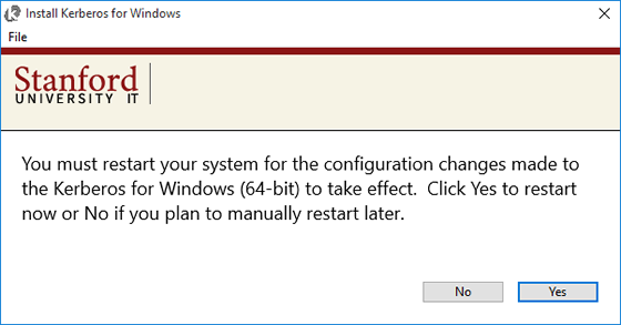 message saying you must restart computer for configuration changes to take effect
