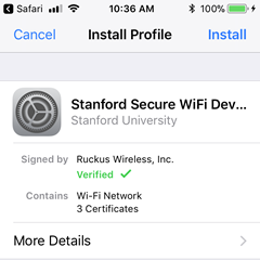 start installing the profile for secure WiFi