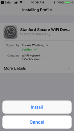 install certificate for secure WiFi