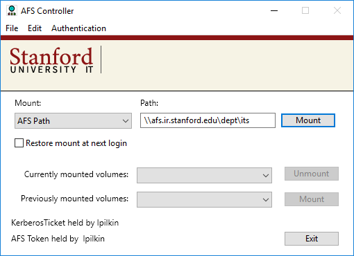 mount a volume using a specific AFS path