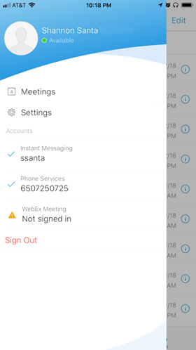 tap profile to access Settings window