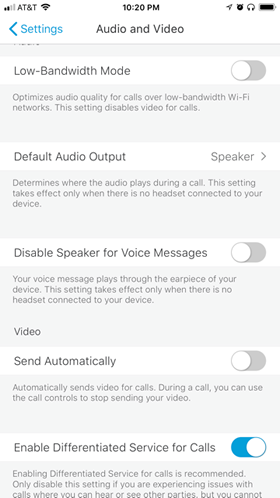 Jabber option to turn video on or off with calls