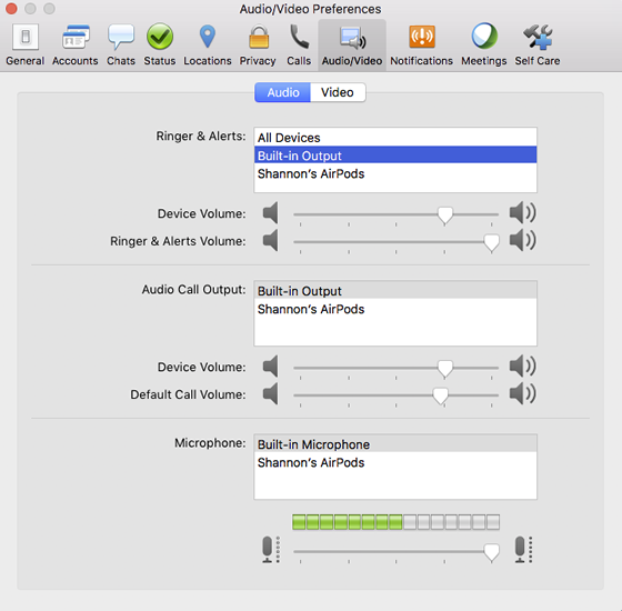 Jabber audio preferences