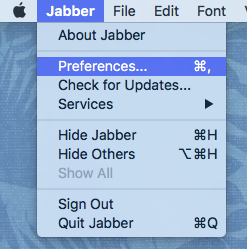 Jabber Preferences menu