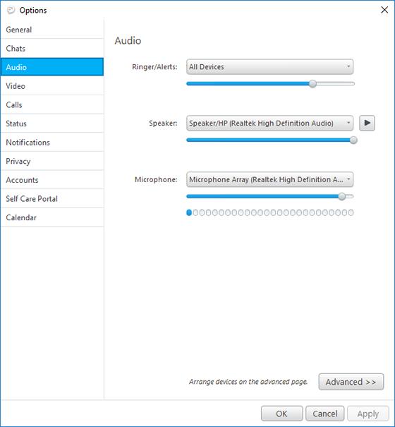Jabber audio options