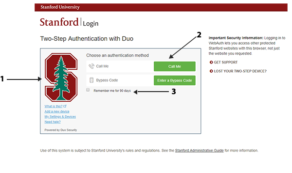 Image of new Duo two-step authentication screen