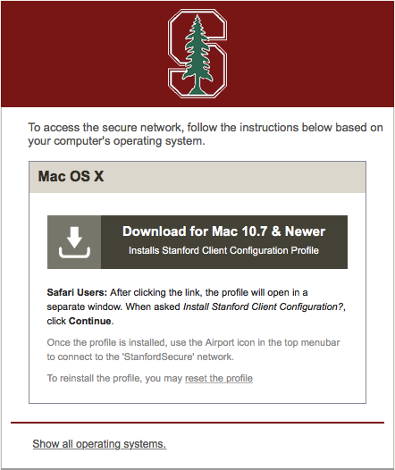 download the Stanford Client Configuration profile for Mac OS X