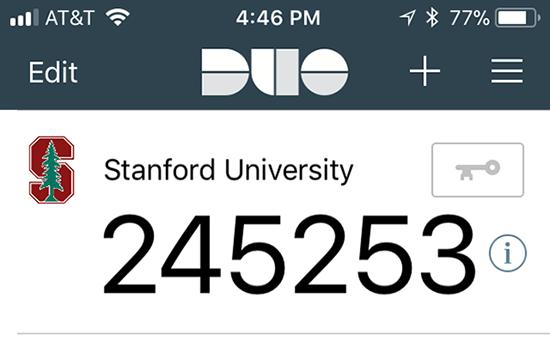 Duo code on device screen