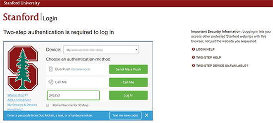 Passcode entered in screen