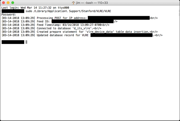 successful check-in when running VLRE in Terminal.app