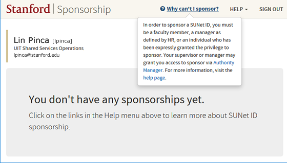 screen showing that you do not have permission to sponsor