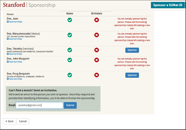 search results from searching for an existing sponsorship