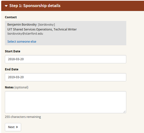 Sponsor a shared email details page