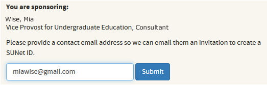 enter a contact email address for the person you are sponsoring
