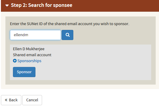 search for sponsee and sponsor shared email account