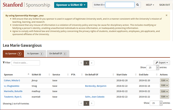 Sponsorship dashboard with tabs to select whether you want to view sponsorships As Sponsor, As Sponsee, and On Behalf Of