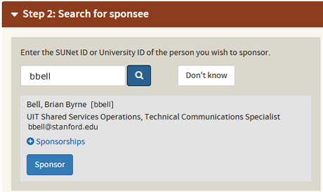 search for a sponsee by SUNet ID or University ID