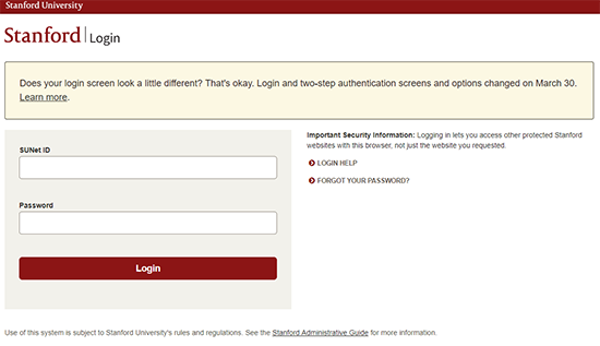 Image of login page