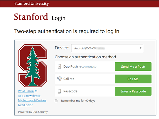 Image of the 90 day checkbox screen on the Login page