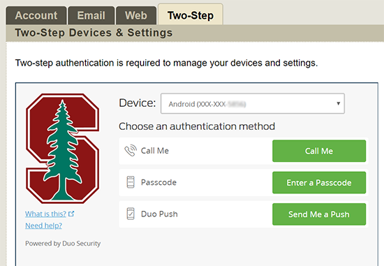 Image of authentication request screen on the Accounts page