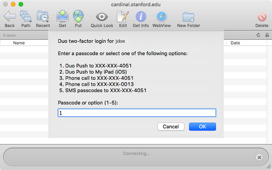 select a second factor from the list of options for two-step authentication