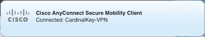 CardinalKey-VPN connection notice in menu bar