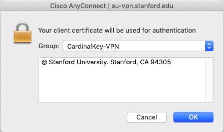dialog box showing CardinalKey-VPN will be used for authentication