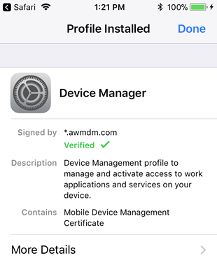notification that the profile has been installed